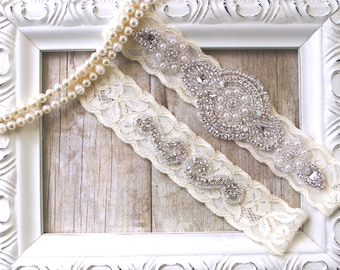 CUSTOMIZE YOUR GARTER - Bridal Garter, Wedding Garter Set, Stretch Lace Garter, Rhinestone Crystal Bridal Garter