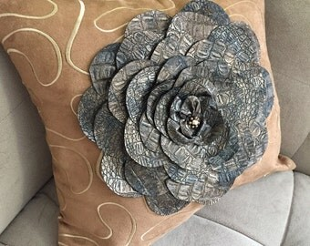 Leather Flower Pillow with Brown and Gold Accents