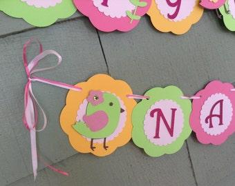 Bird Baby Shower Banner or Bird Birthday Banner bird theme