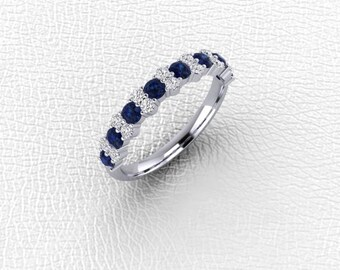 14K white gold Garland diamond and Sapphire  band