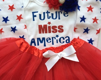 TODDLER Girl Patriotic outfit - Red White Blue girl outfit - Pagent Outfit - Red white blue headband- Toddler Girl Future Miss America
