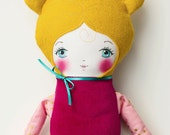 Handmade Cloth Doll with Golden Hair, Art Doll, Rag Doll Valentine's Day