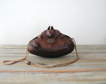 Vintage Armadillo Purse Hand Tooled Leather Bag