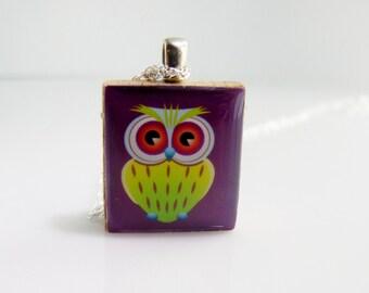 Purple & Lime Green Scrabble Pendant - Cute Owl - Scrabble Tile Pendant Charm Necklace on Sterling Silver 925 bail and chain, Bird Pendant