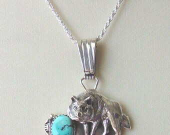 Sterling Silver Wolf Jewelry, Sterling Silver Wolf with Turquoise, Sterling Silver Wolf jewelry on Sale Now