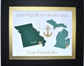 Moving Away from Home Gift: Best Friend Birthday Gift Best Friend Map Gift Friendship Quote BFF Gift Long Distance Gift Multi-Country Map