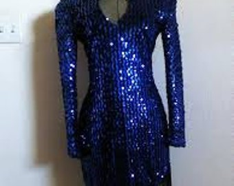 Vintage  80s Electric Blue  Sequin Dress by JHarris  **New**