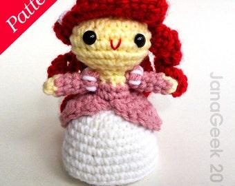 Little Mermaid in Pink Dress Doll Crochet Pattern
