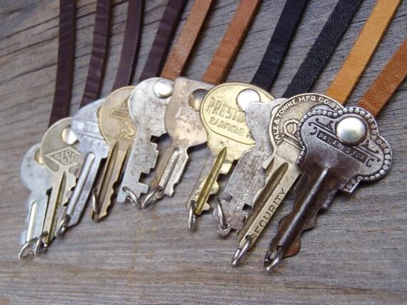 THREE Antique Key + Leather Bracelets - Instant Stack!   Repurposed - Upcycled - Handmade - Vintage Key - Unisex