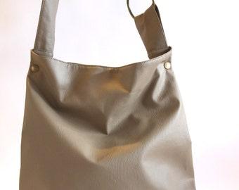 Vegan Shoulder Bag, Grey Handbag, Hobo Bag Messenger, Faux Leather Handbag, Hobo Bag Purse, Student Bag