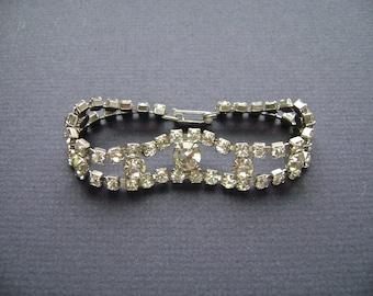 Vintage Rhinestone Bracelet, Glamour, Mid Century, Clear Rhinestones, Sparkle Bracelet, Articulated, Prong Set, Paste, Faux Diamonds