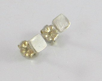 Small Square Stud Earrings, Square Studs, Silver Stud Earrings, Small Studs, Small Earrings, Square Post Earrings,