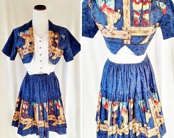 Vintage Banjo Cowgirl Crop Top and Full Skirt Set. Medium