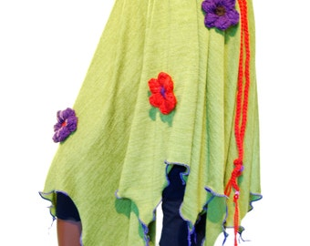 Green elven skirt, flower pixie fairy