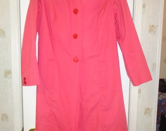 Women's Fall Fashion Vintage Long Pink Retro Pleated Coat or Jacket