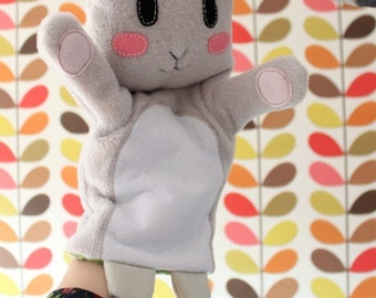 White rabbit hand puppet
