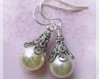 Bridal Pearl Earrings, Vintage Style Pearl Drop Earrings, Ivory or White Bride Bridesmaids Mother of The Bride Antique Style Wedding Jewelry