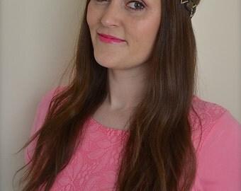 Black & Gold Jewel Beaded Headband Hairband Boho Vintage Festival Beau Flutterby