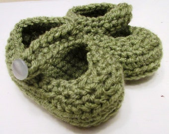 Baby Booties - Green, Handmade, Crocheted, Knit