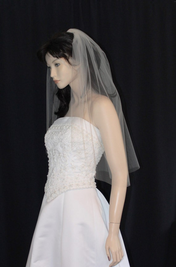 champagne colored wedding veil 30 inches long waist length