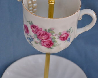 Jewelry Display, Tea Cup Stand, Tidbit Tray,  Red Rose Teacup, Floral China, Hostess Housewarming Gift, Jewelry Dish