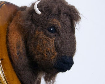 Felted Bison Wall Mount - Felted Faux Taxidermy
