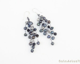 Black freshwater pearl earring with crystal on silk thread, long earring