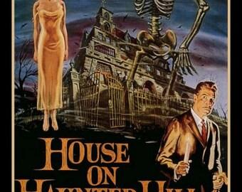 Vintage Movie Poster Fridge Magnet, House on Haunted Hill, skeleton hanged woman torture, horror movie