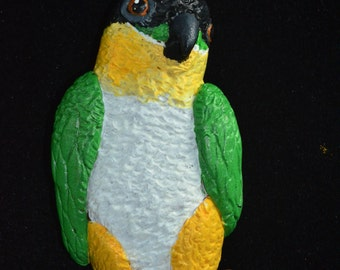 Polymer Clay Black Headed Parrot Pendant, Hand Painted