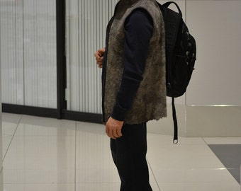 Felt for Men: eco style fashion felted men's vest with zip (from  A-Grade merino and gothland  lamb wool) - OOAK - to order only!