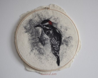 "OOAK hand made wet felt wool wall decor ""wool watercolour painting"" - Canadian birds - Downy Woodpecker - d 37 sm - to order!"