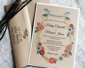 Rustic Wedding Invitation. Romantic Wedding Invitation. Rustic Chic, Floral Wedding Invitation. Wedding Stationary. Modern Chic, Floral