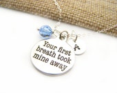 New Mom Necklace Take My Breath Charm Swarovski Birthstone Initial Personalized Sterling Silver Necklace / Gift for Her