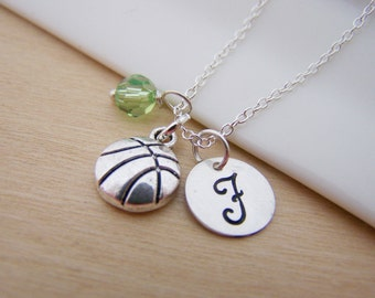 Basketball Sport Charm Swarovski Birthstone Initial Personalized Sterling Silver Necklace / Gift for Her