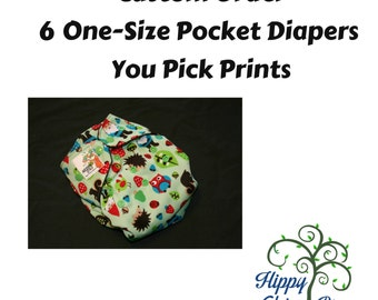 Set of 6 One-Size Pocket Diapers - Pick Your Prints