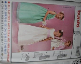 BUrda 9757 Girls Formal Dress Sewing Pattern - Sizes  2 - 8 UNCUT