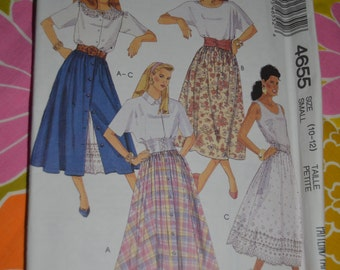 McCalls 4655 Misses Skirts and Petticoat Sewing Pattern - UNCUT - Sizes 10 - 12
