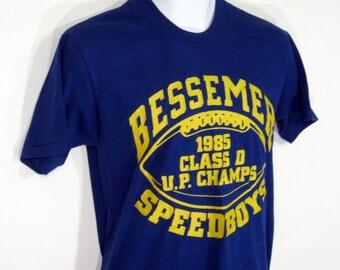 Vintage Bessemer Speedboys Football Champs T-Shirt Sz.S 1980's