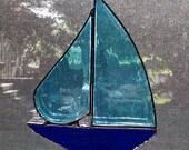 Stained Glass Sailboat - Nautical Decor - Sailboat Suncatcher - Boat Art - Coastal Art - Beach Decor - Turquoise - Blue