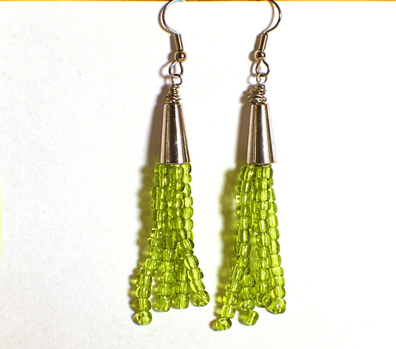green tassel earrings beaded tassels beaded by