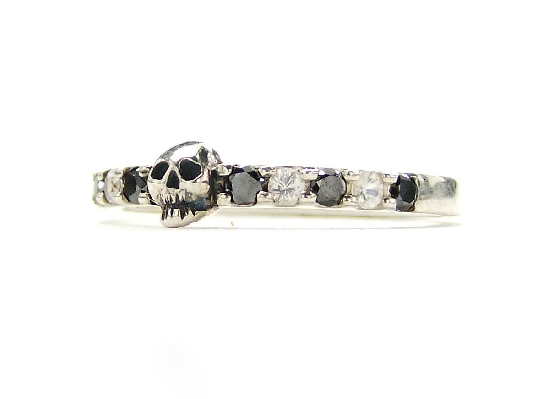Tiny Skull Wedding Band Black Diamond Sterling by KipkalinkaJewels