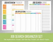 Job Search Organizer Set - job search tracker, interview tracker, website logins