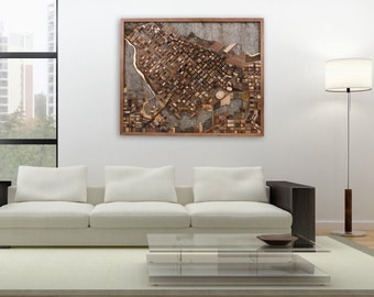 "Vancouver cityscape wood wall art, made of old reclaimed barn wood. 44.5"" x 36.5"" x 4"" Large wall art, Large art, wood wall sculpture"