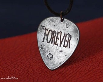 Forever guitar pic  necklace - Forever love guitar pick - metal guitar pick - copper jewelry for him, for her