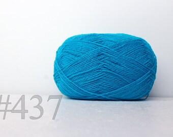 WOOL yarn 100%-knitting yarn -  bright blue #437