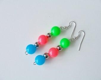 Neon retro 80's tri-colour resin dangling earrings - neon earrings - resin earrings - retro 1980's earrings - neon jewelry