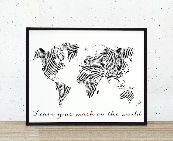 Fingerprint World Map Art Print Leave Your Mark by BySamantha |Leave Your Fingerprint Quotes