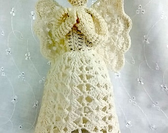 Vintage Off-White Hand Made Crochet Angel Tree Topper or Mantel Decoration