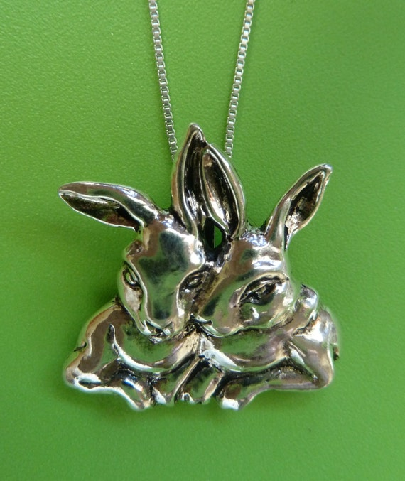 sterling silver rabbit necklace bunny necklace hare