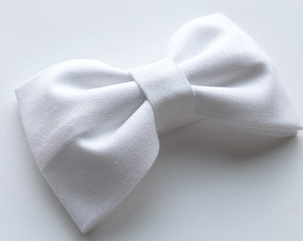 White Hair Bow or White Bow Tie  - White Bows - Formal Bow Tie - Formal Hair Bow